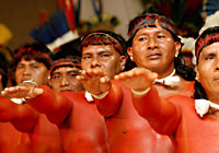 Xingu Men Protesting
